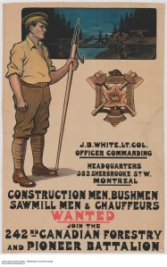 e010697048-v8-Construction Men, Bushmen, Sawmill Men & Chauffeurs Wanted to Join the 242nd Canadian Forestry and Pioneer Battalion -  recruitment campaign
