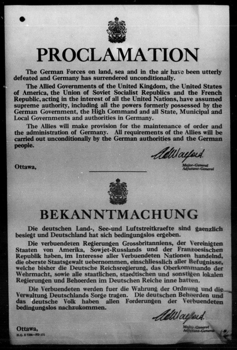 """PROCLAMATION"" - 1945. Source: Library and Archives Canada."