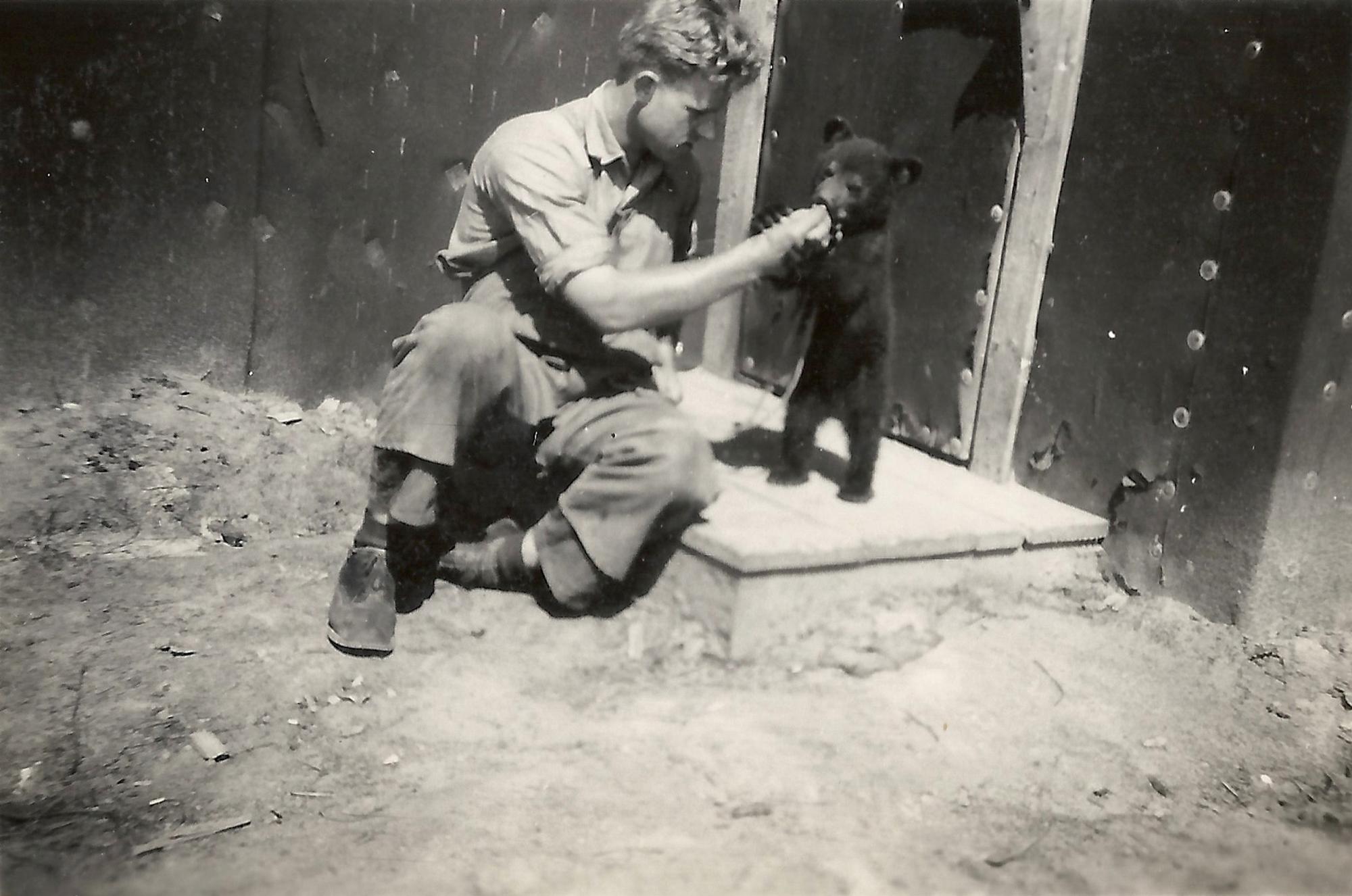 POW and pet bear, Pigeon Timber Co. Camp near Neys.